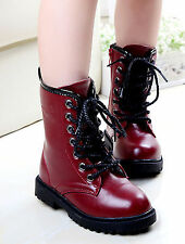 Kids Girls Punk Combat Ankle Boots Lace Up Martin Boots Motorcycle boots Shoes
