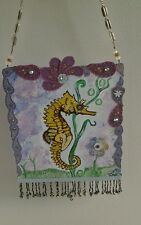 Original mixed media acrylic seahorse nautical painting w/ Swarovski