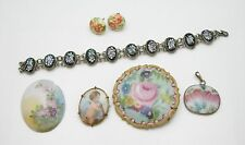 Lot of Vintage Porcelain Items, Rosenthal Pin, Bracelet, Pendant, Earrings