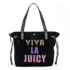 NWT Juicy Couture ''Viva La Juicy'' Black Velvet & Sequin Large Tote Bag $99