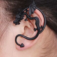 ORECCHINO DRAGO NERO - GOTHIC BLACK EARRING DRAGON