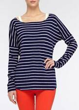 Vince Cashmere Wool Shirttail Boatneck Sweater Blue White Stripe L/Large $310