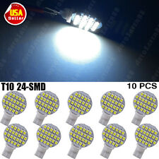 10pcs T10 194 921 W5W 24 1210 SMD LED Cool White RV Landscaping Light Lamp Bulbs