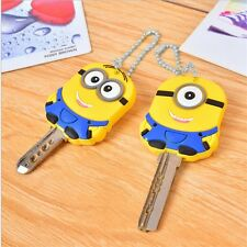 Cute Despicable Me Minion Key Top Cap Cover Keyring Chain Fob Holder Gift Party