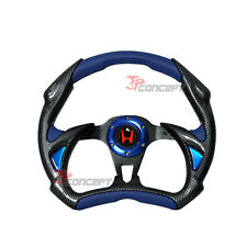 320mm JDM Racing Sport Steering Wheel Black Carbon Fiber Blue PVC Horn Button