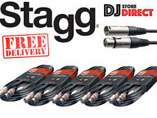 5 X STAGG SMC10 - 10M BALANCED MICROPHONE XLR CABLE - Male To Female FREE P&P***