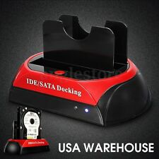 2.5'' 3.5'' IDE SATA USB2.0 Dual HDD Hard Drive Disk Docking Station OTB US Plug