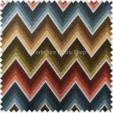 White Blue Rust Red Green Chevron Designer Soft Woven Chenille Upholstery Fabric