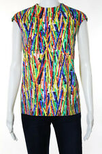 Stella Jean Multi-Color Cotton Abstract Print Sleeveless Top Size IT 42
