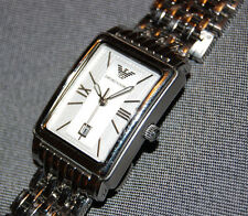 Emporio Armani Classic Watch Silver Stainless Square Women's Date NEW BATTERY!