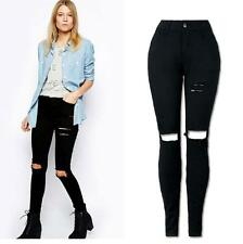 *Womens Ripped Knee Skinny Long Jeans Pants Slim Pencil Trousers Spring XL