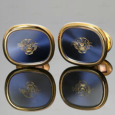 RARE! PATEK PHILIPPE Golden Ellipse Blue Dial Tiger Head Large Cufflinks