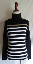 NWT Lauren Ralph Lauren M Logo Black White Gold Stripe Turtleneck Ribbed Sweater
