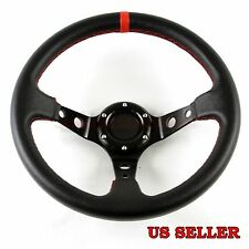 FOR CALAIS USA! DEEP DISH PVC RED STITCHED USA 320MM 6-BOLT DRIFT STEERING WHEEL