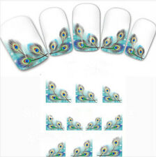 HOT Peacock Feather nail Wraps Water Transfers Stickers Decals Nail Art QW