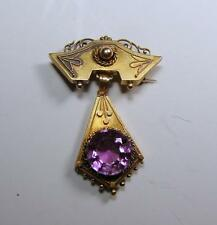 Antique Victorian 10K Gold Pendant Pin with Amethyst