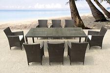 Gartenmöbel Dunkelbraun, Tisch + 8 Stühle, Rattanmöbel,Polyrattan,Gartenmöbelset