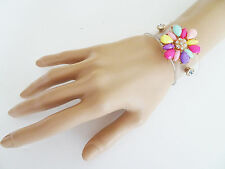 Gorgeous Flower Bracelet Cuff Wristband Clear with Press studs Crystals and Bead