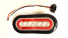 """6"""" Oval Red Clear LED Glow Stop Turn Tail Light Grommet Mount Optronics Glo Halo"""