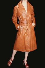 M~L Vtg 70s CARAMEL BROWN LEATHER TRENCH BELT MIDI OUTWEAR SPY GIRL DRESS COAT