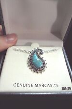 "sparkly black Marcasite curved paisley teardrop teal silver pendant 18"" necklace"