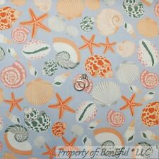 BonEful Fabric Cotton Quilt VTG Purple White Seashell Beach Ocean Starfish SCRAP