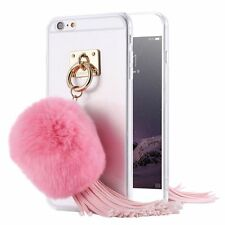 Rabbit Fur Hair Ball Tassels Soft TPU Crystal Clear Back Case Cover For iPhone
