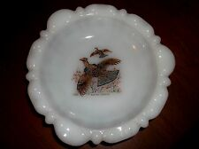 VINTAGE WHITE PYREX GLASS ASHTRAY / PIN DISH RUFFED GROUSE BIRD PICTURE DESIGN