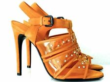 BOTTEGA VENETA HIGH HEELS SUEDE/PLEXIGLAS/ORANGE GR:38,5 NEU !!!