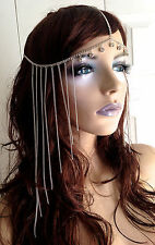 rhinestone chain headpeice hair jewelry fringe grecian gypsy bridal costume