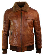 Mens B3 Bomber Rust Tan Brown Removable Fur Collar aviator Pilot Leather jacket