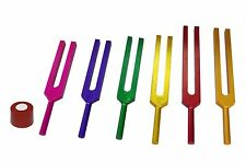 New 6 Sacred Solfeggio Coloured Tuning forks + Pouch + Activator