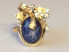 Large 4ct Star Sapphire and Diamond Ring in 14K Yellow Gold
