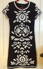 INC Int'l CONCEPTS Short Sleeve Black Summer Dress White Ethnic Embroidery Wn M