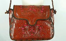 Tooled Leather Brown Shoulder Bag Purse Tote Cross Body Cutwork Floral Unbranded