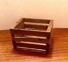 """1:6 Scale Rustic Wood Fruit Crate Handcrafted Miniature 2-1/2"""" x 2-1/8"""""""