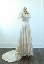 Vtg Antique 1920s 20s cream satin wedding Dress gown beaded crown AS IS STUDY