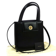 Authentic BVLGARI Logos 2way Hand Bag Black Gold Leather Italy Vintage JT04743
