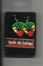 "GUITAR PICK ""RASTA COLORS WITH MARIJUANA LEAF"" EARRINGS-DOUBLE SIDED PICTURE"