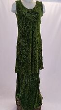 "URU Kristine St. Rrik Maxi Dress Two-Piece Burnout Velvet Green ""One Size"" EUC"