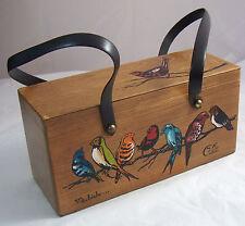 Vintage Original Wood Wooden Box Purse Handbag Enid Collins Texas For the Birds