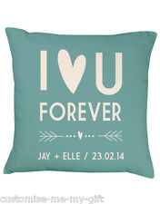 I Love you Foever | Cushion Duck Egg Blue | Wedding | Gift | Personalise