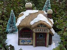Miniature FAIRY GARDEN House ~ Victorian Village CHRISTMAS Bakery with LED Light