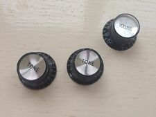 3x BELL SHAPED TOP HAT SPEED KNOBS For LP Epiphone Fender Black with Silver CAPS