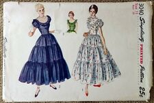 "VINTAGE DRESS PATTERN BRIDESMAID 1940s COCKTAIL FORMAL FULL SKIRT 29"" Bust UNCUT"