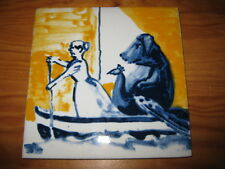 PORTUGAL PORTUGUESE PAULA REGO 1990s WOMAN & DOB CERAMIC TILE CARREAU FLIESE