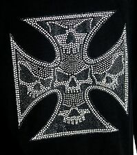 IRON CROSS SKULLS  rhinestone Iron on Transfer Hot Fix  NO SHIRT