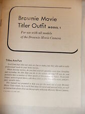 Instructions cine movie camera BROWNIE TITLER OUTFIT model 1  - CD/Email