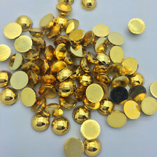 New 100pcs 8mm Half Round Pearl Bead Flat Back Scrapbook for Craft Gilded