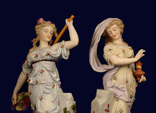 Lg Pair Paris Porcelain French Bisque Lady Figurines Symbolizing Night and Day